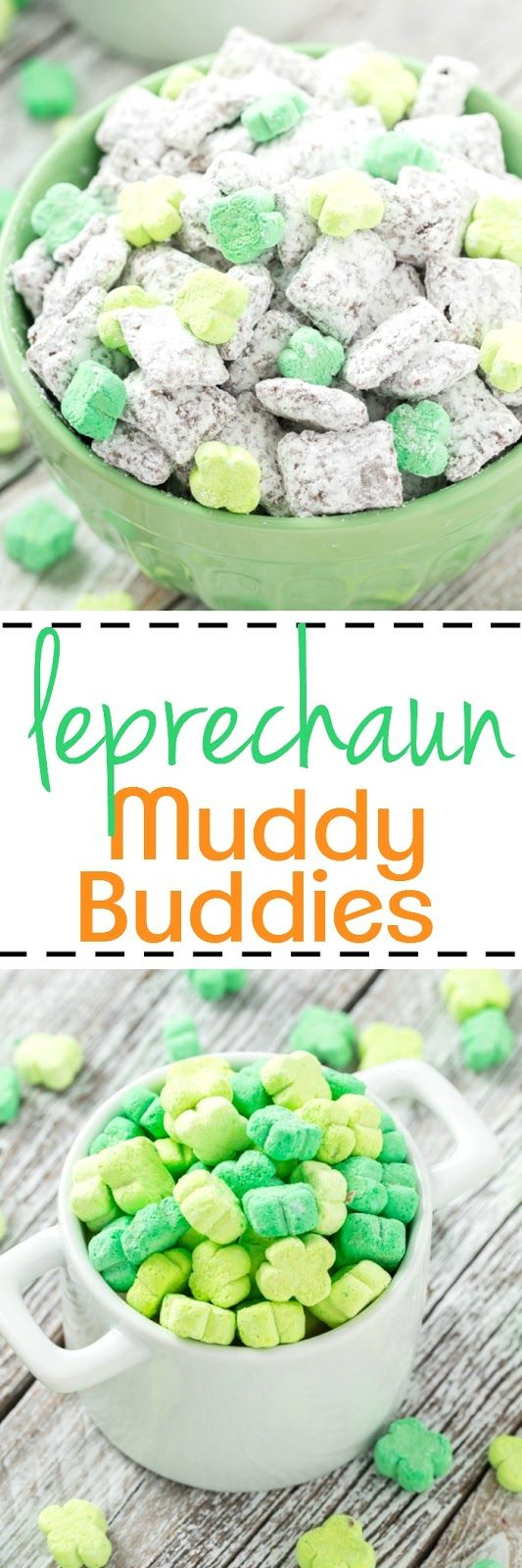 These peanut free Leprechaun Muddy Buddies are magically delicious with mini shamrock marshmallows.  Sure to be a hit for young and old alike! #muddybuddies #chexmix