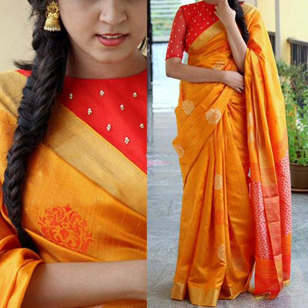 a9849d8323 Buy this Simple Yellowish Orange Colored Premium Silk Saree Online for  upcoming festivals like Rakshabandhan at affordable rate from daarce  fashion ...