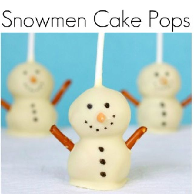 Cake pops shaped like snowmen!