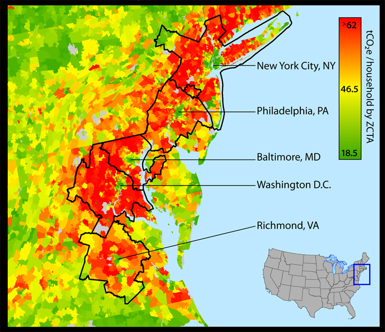Carbon Footprint Map Average Annual Household Carbon Footprint Of - Philadelphia location on us map