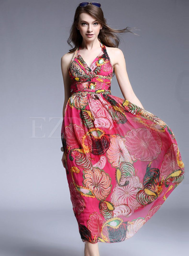 For High Quality V Neck Sleeveless Print Maxi Dress Online At Prices And Discover Fashion Ezpopsy