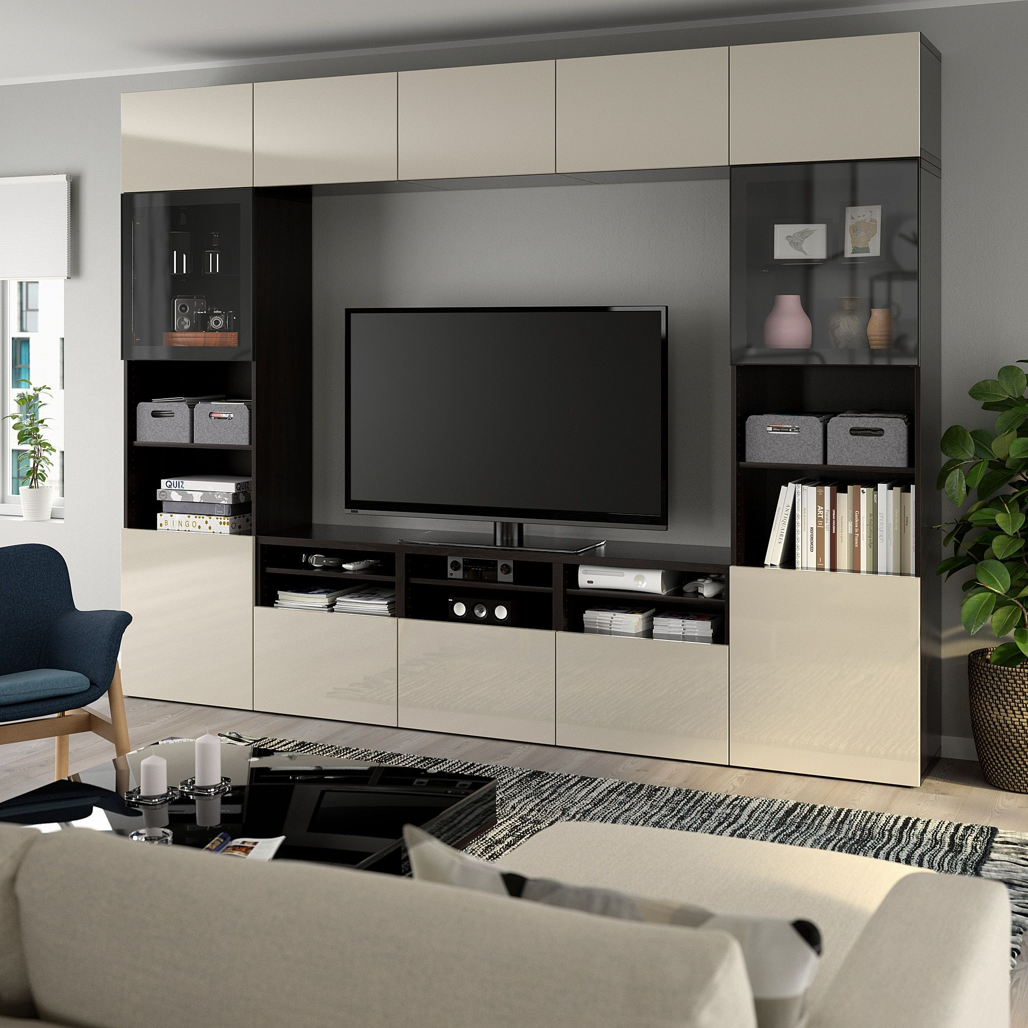 Bestå Tv Storage Combination Glass Doors Black Brown Selsv
