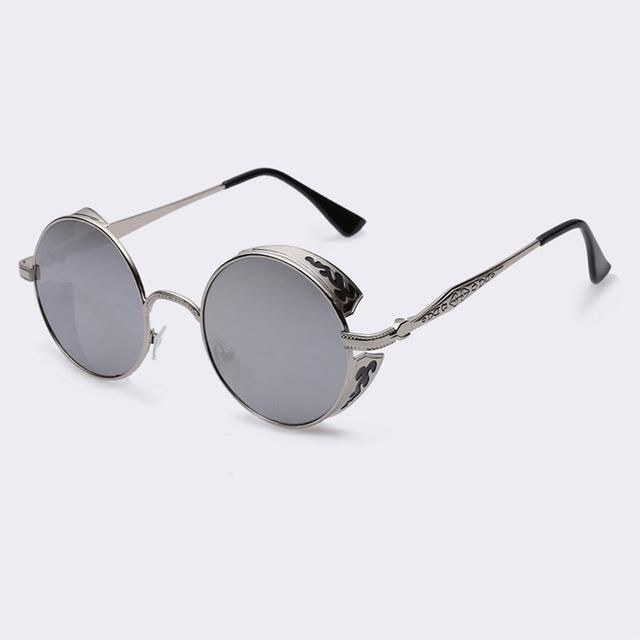5d3f5d5b8168 AOFLY Steampunk Vintage Sunglass Fashion round sunglasses women brand  designer metal carving sun glasses men oculos de sol S1635