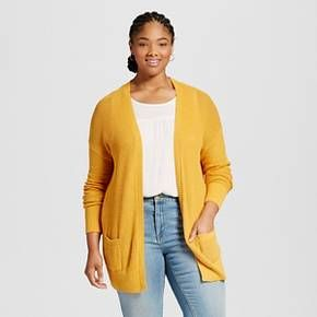 Women's Plus Size Long Sleeve Open Layering Sweater Squash Yellow ...
