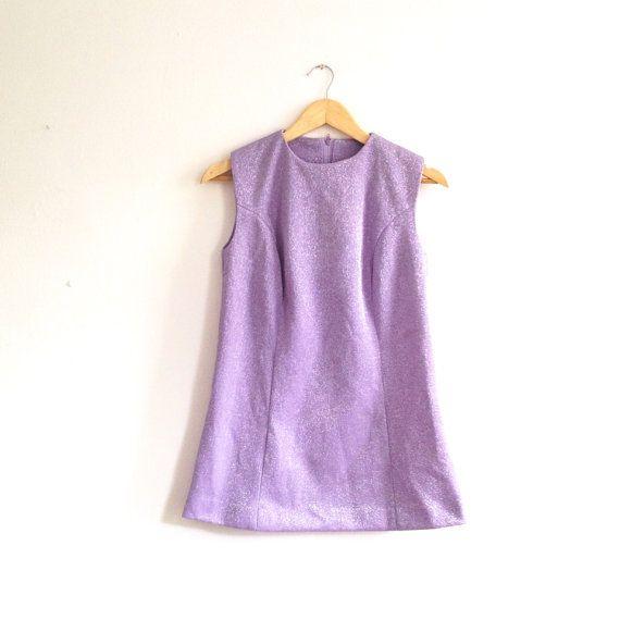 60s Mini Dress // purple shimmer dress // by superqueenieretro