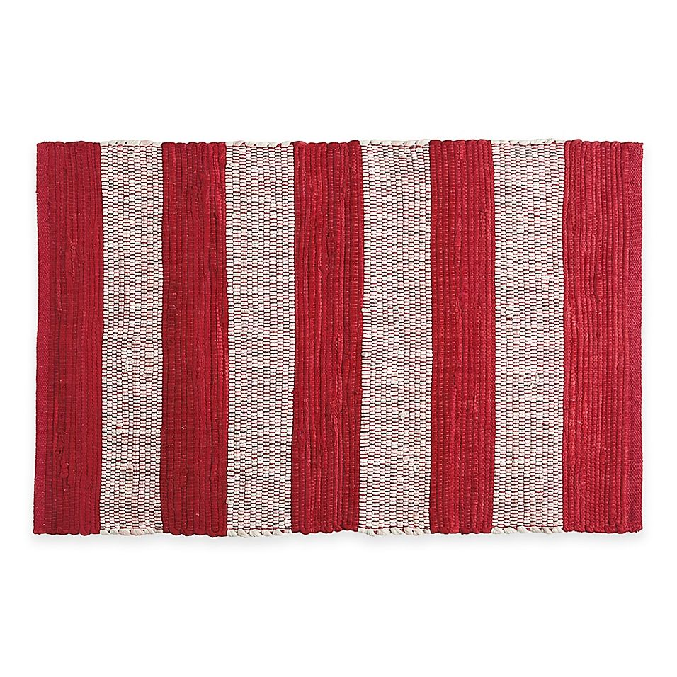 Chindi Hand Woven 31 5 X 20 Kitchen Rug In Red White Stripe
