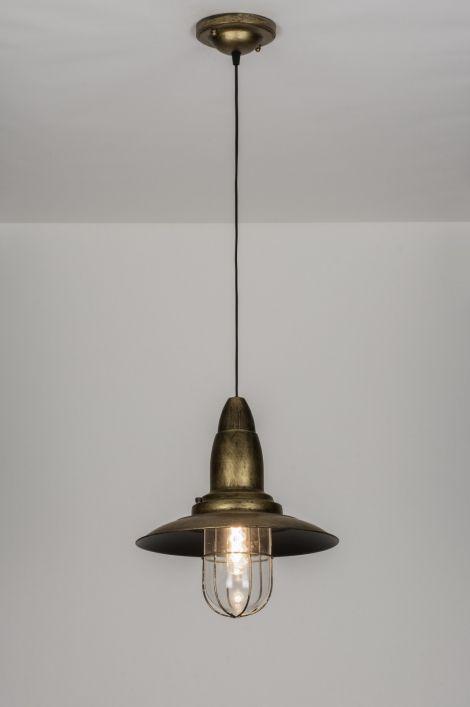 Http Www Rietveldlicht Nl Artikel Hanglamp 10431 Klassiek Industrie Look Roest Bruin Brons Glas Helder Glas Metaal Rond Ceiling Lights Pendant Light Light