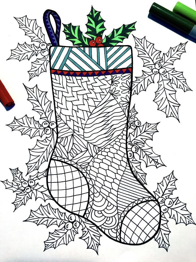 Christmas Stocking and Holly PDF Zentangle Coloring Page