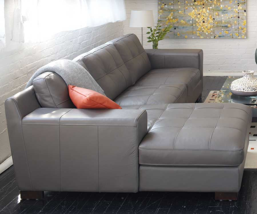Montez Sectional In Gray Leather Topstiched Seat And Back Kasala Grey Leather Sofa Living Room Grey Sectional Sofa Leather Couches Living Room