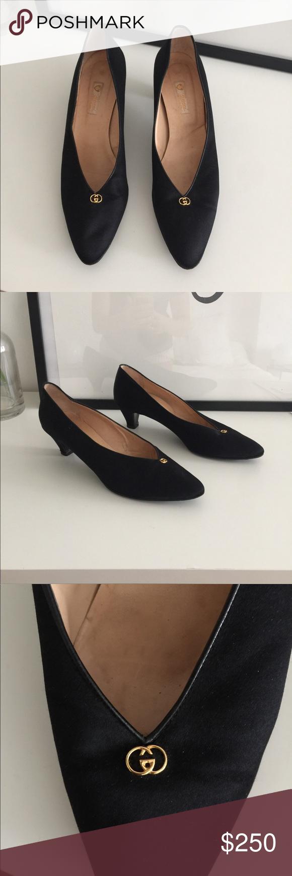 feb6a1a78d0 Vintage Gucci Black Kitten Heel Womens Shoes - Vintage - Black - Authentic  Gucci - Size 40 Euro - Kitten Heel - Pointy Shoe Style Gucci Shoes Heels