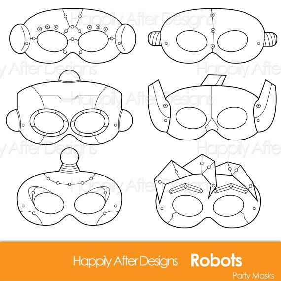 robots printable coloring masks robot mask bots mask robot