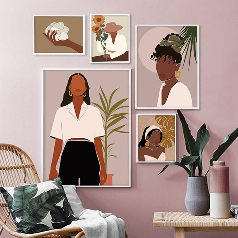 Photo of Black Women Gallery Wall Set of 5, DIGITAL ART, Abstract Face Wall Art, African American Prints, Modern Art, Gallery Wall Decor, Afro Women