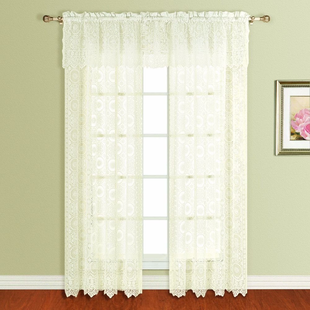Office window coverings  new rochelle lace straight valance and panel  valance and products