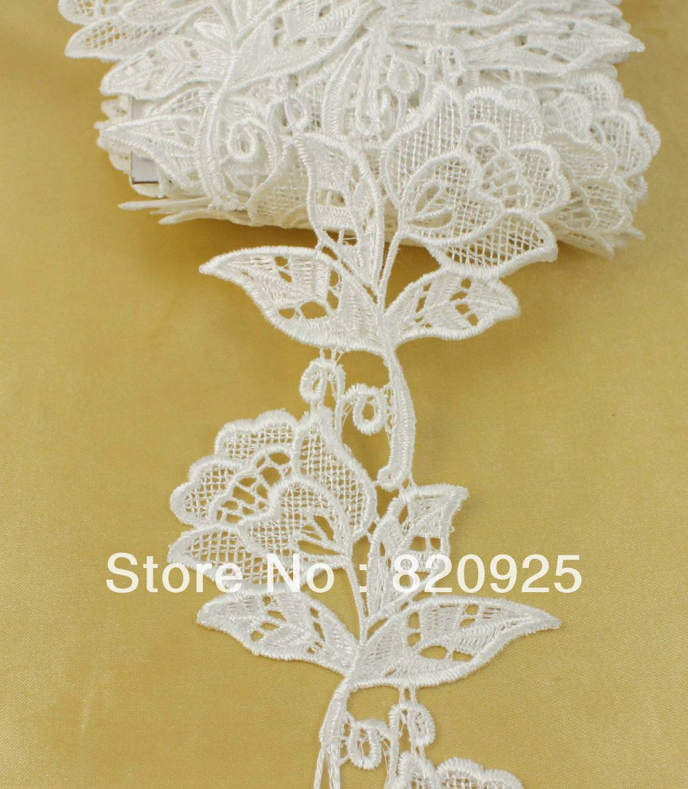 2yds 90mm Off White Fabric Beautiful Flower Venise Lace Trim Sewing