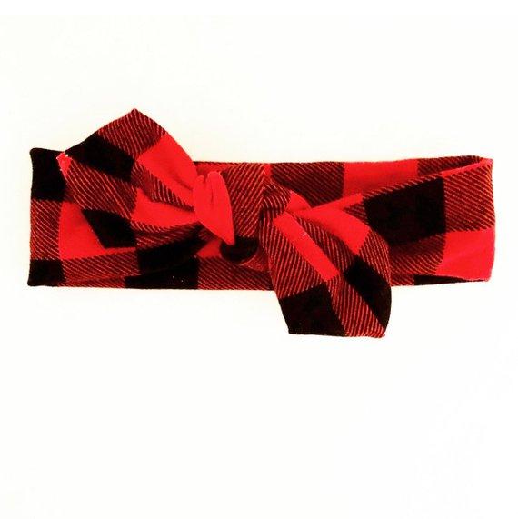 c8e3524dda16d Red black plaid- buffalo plaid- lumberjack headband Christmas ...