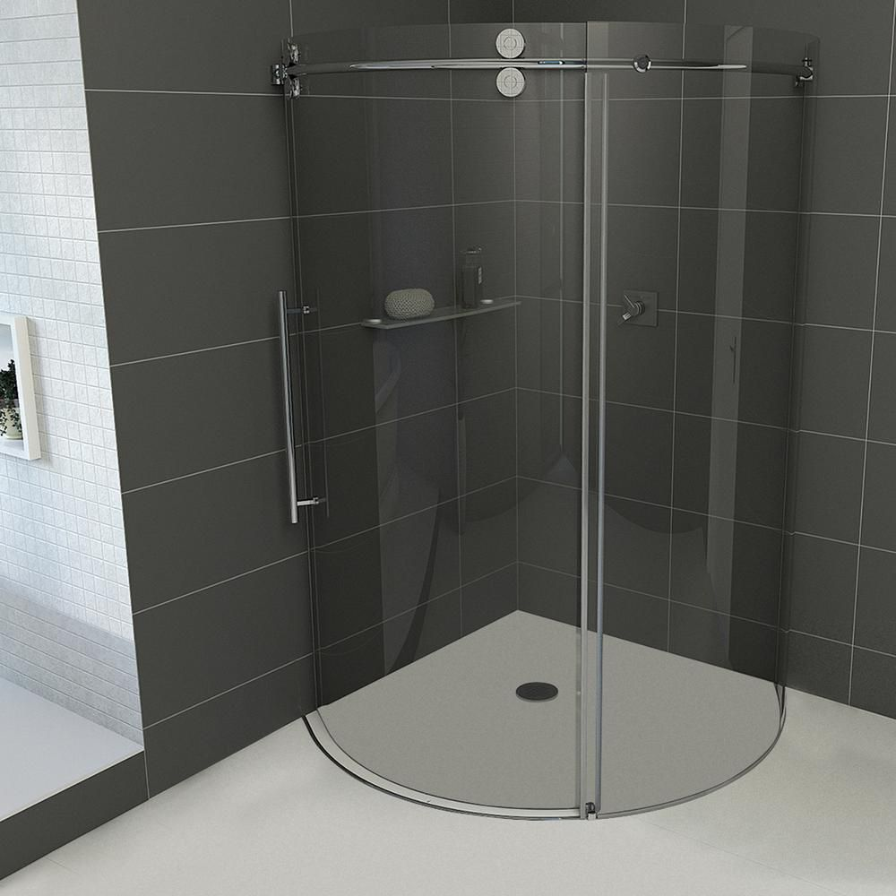 Vigo 32 Inch X Frameless Shower Stall In Clear With Brushed Nickel