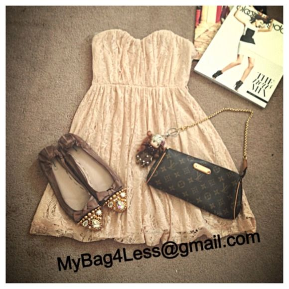 Cute Lacie Dress Cute lacie dress in nude color. It was worn for photo shoot only.  There is a little ink stain inside the dress, but You don't have to worry since it's not noticeable from the outside. Please refer to the picture. Thank you  Dresses