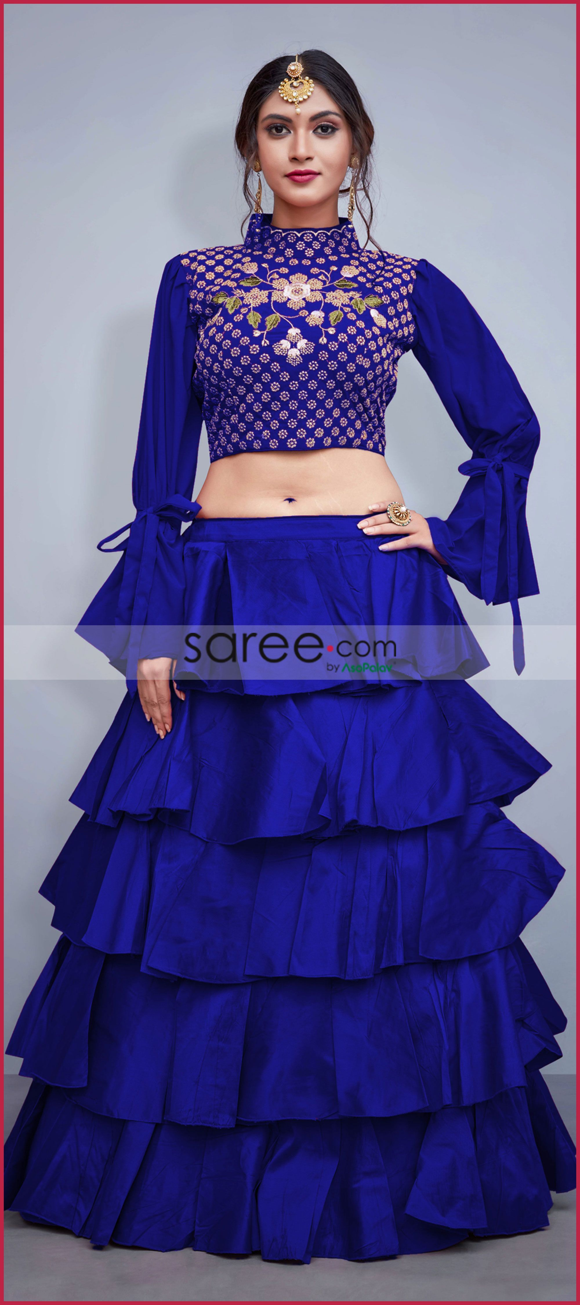 d2cbd6f4ac31de Blue Art Silk Frilled Lehenga Choli | Anarkali/lehanga/ghagra ...