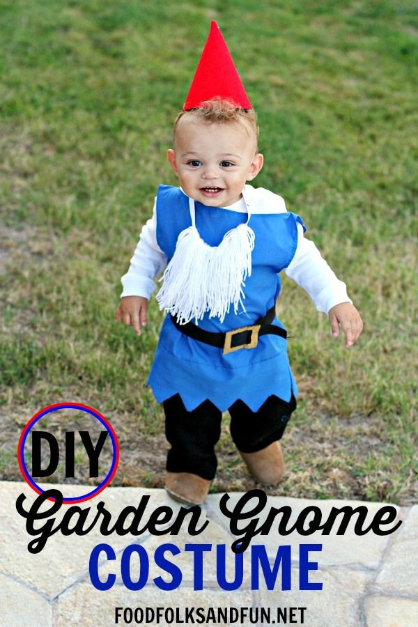 DIY Boy Garden Gnome Costume AND 80+ DIY Costume Ideas! • Food Folks and Fun