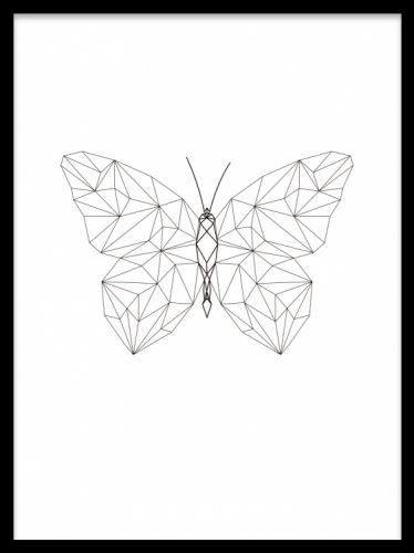 Geometric Butterfly, poster. Poster med geometrisk fjäril. Poster ...