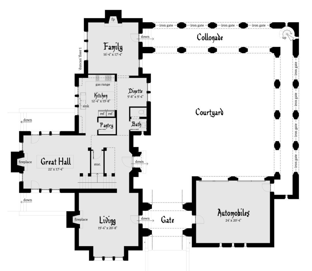 Courtyard Castle Plan With 3 Bedrooms Tyree House Plans Castle Plans Castle House Plans Castle Floor Plan