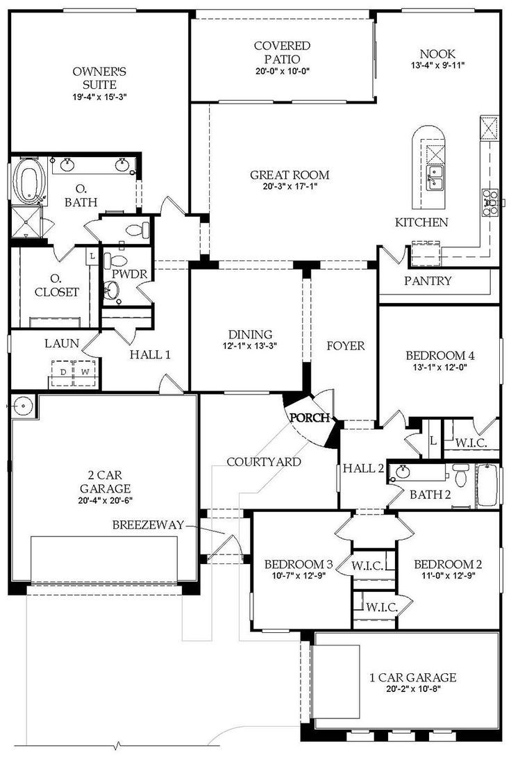 Image Result For Single Story Open Floor House Plans With Atriums - Floor Plans For New Homes