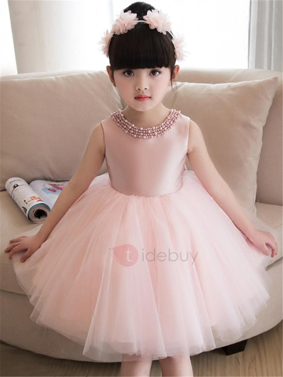 fd87d47de5f TideBuy - TideBuy Plain Jewel Neck Bowknot Knee-Length Girls Party Dress -  AdoreWe.com