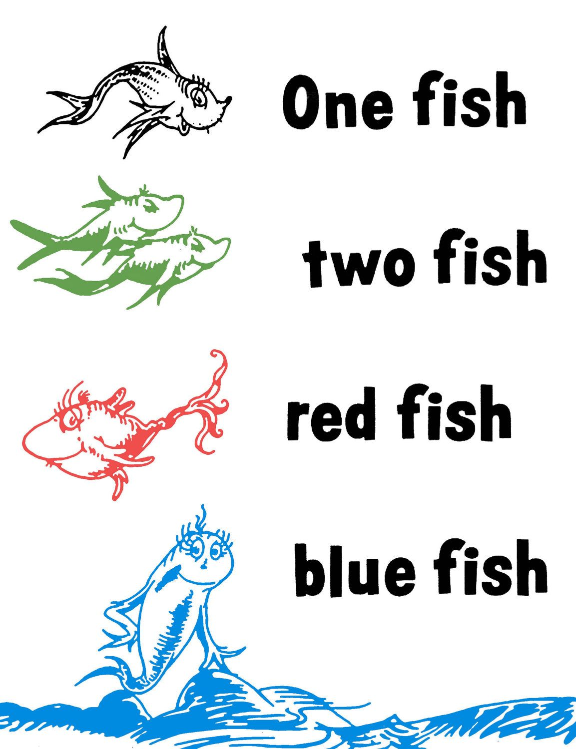 Dr Seuss One Fish Two Fish Red Fish Blue Fish Cricut
