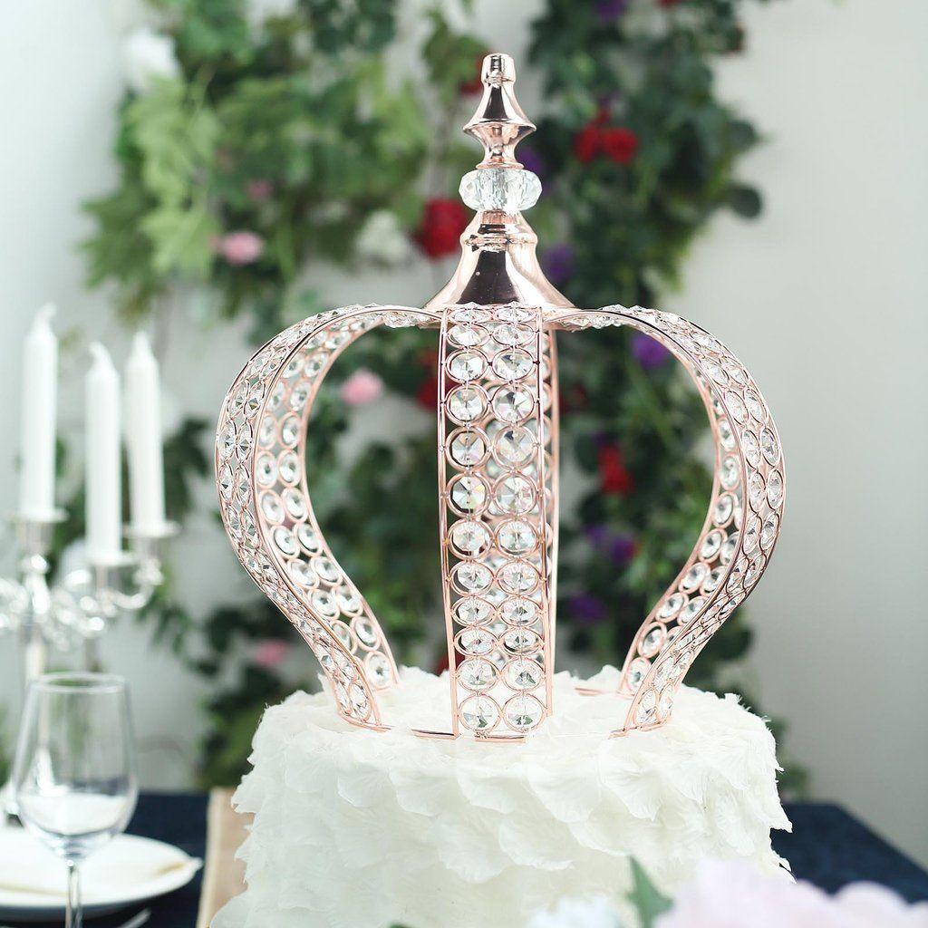 14 rose gold crystal metallic royal crown cake topper