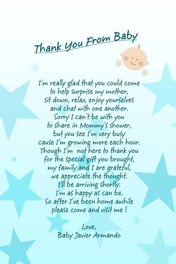 Baby Shower Poem I Created These For My Sons Baby Shower I