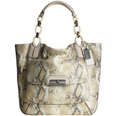 ad2e733aa1a2 Coach Kristen Embossed Metallic Python Tote Ivory. Snake patterned leather  is the hottest neutral this season  it looks great with everything and  gives a ...