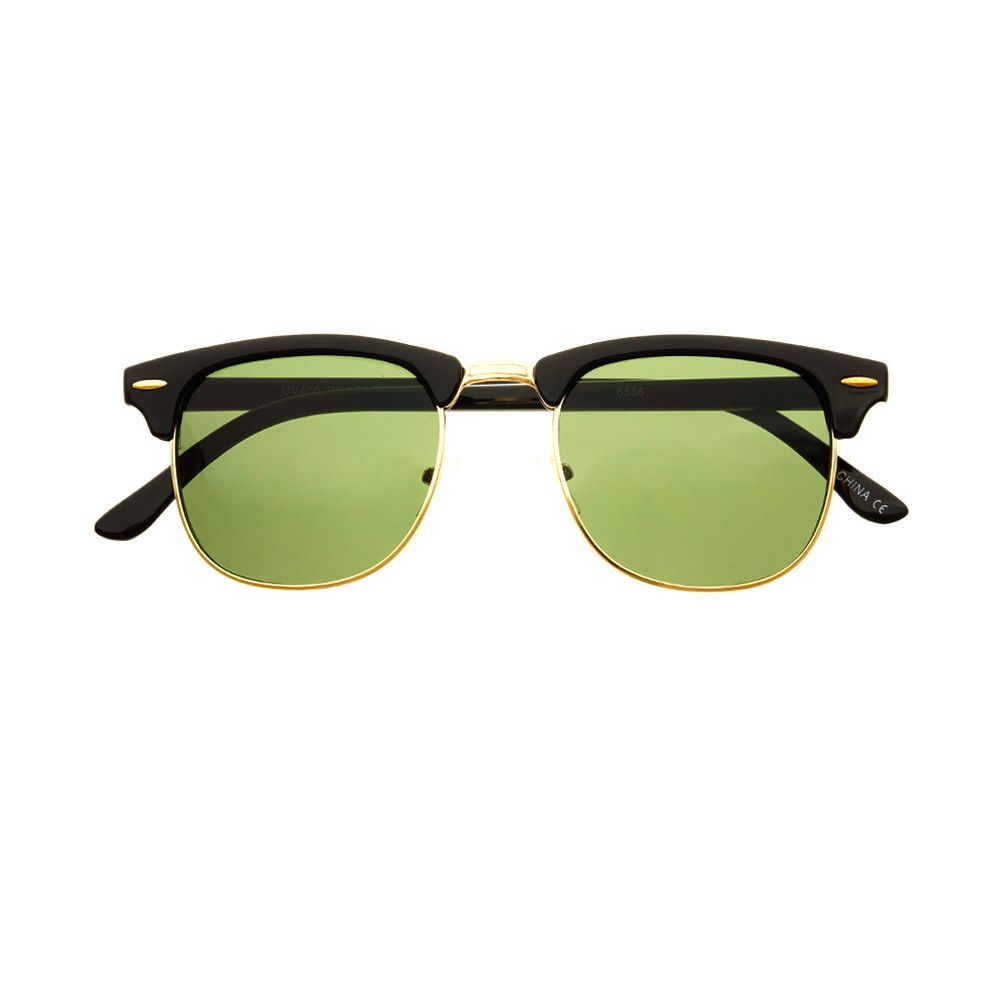 4d88997b1fd8d  wayfarer  sunglasses  shades  large  retro  vintage  fashion  style   freyrs  mens  womens  clubmaster  halfframe  black  G15  green  lens