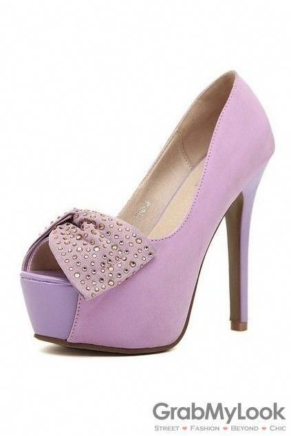 51f650dbe664d GrabMyLook Open Toe Suede Glitter Bow Platforms High Heels Stiletto Shoes   Shoeshighheels