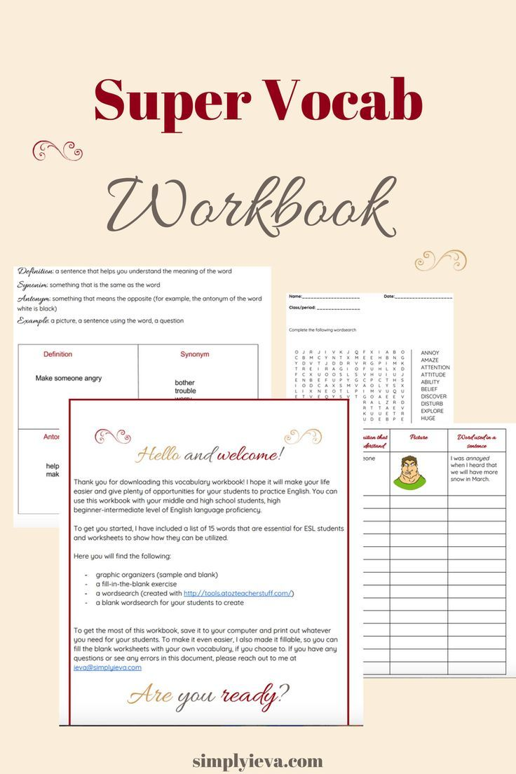 Free Vocabulary Workbook For Esl Students Students Kids Learning