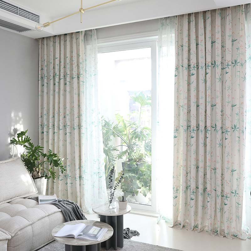 Japanese Graceful Curtain Cherry Blossom Printing Curtain Bedroom