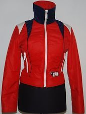VINTAGE 70S SWISS YVES CHANDER SKI JACKET NYLON NYLSUISSE RED ZIP FUNNEL WAIST S