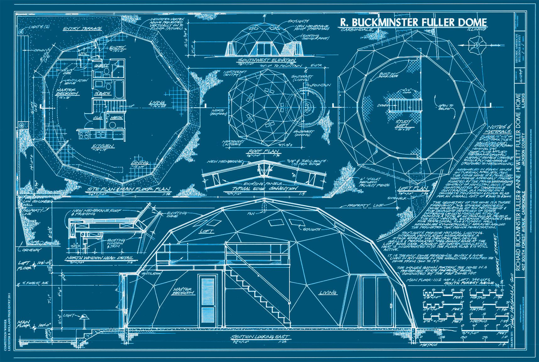 Print Collection Buckminster Fuller Dome Drawings Home