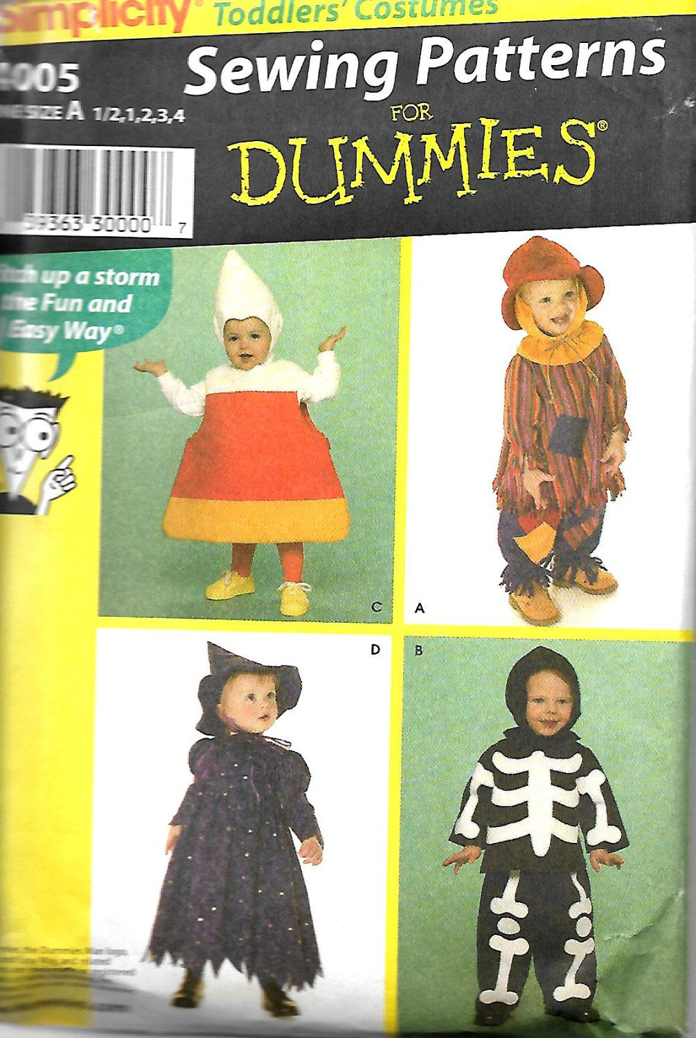Simplicity 4005 toddler costumes sewing patterns for dummies simplicity 4005 toddler costumes sewing patterns for dummies size 12 4 jeuxipadfo Choice Image