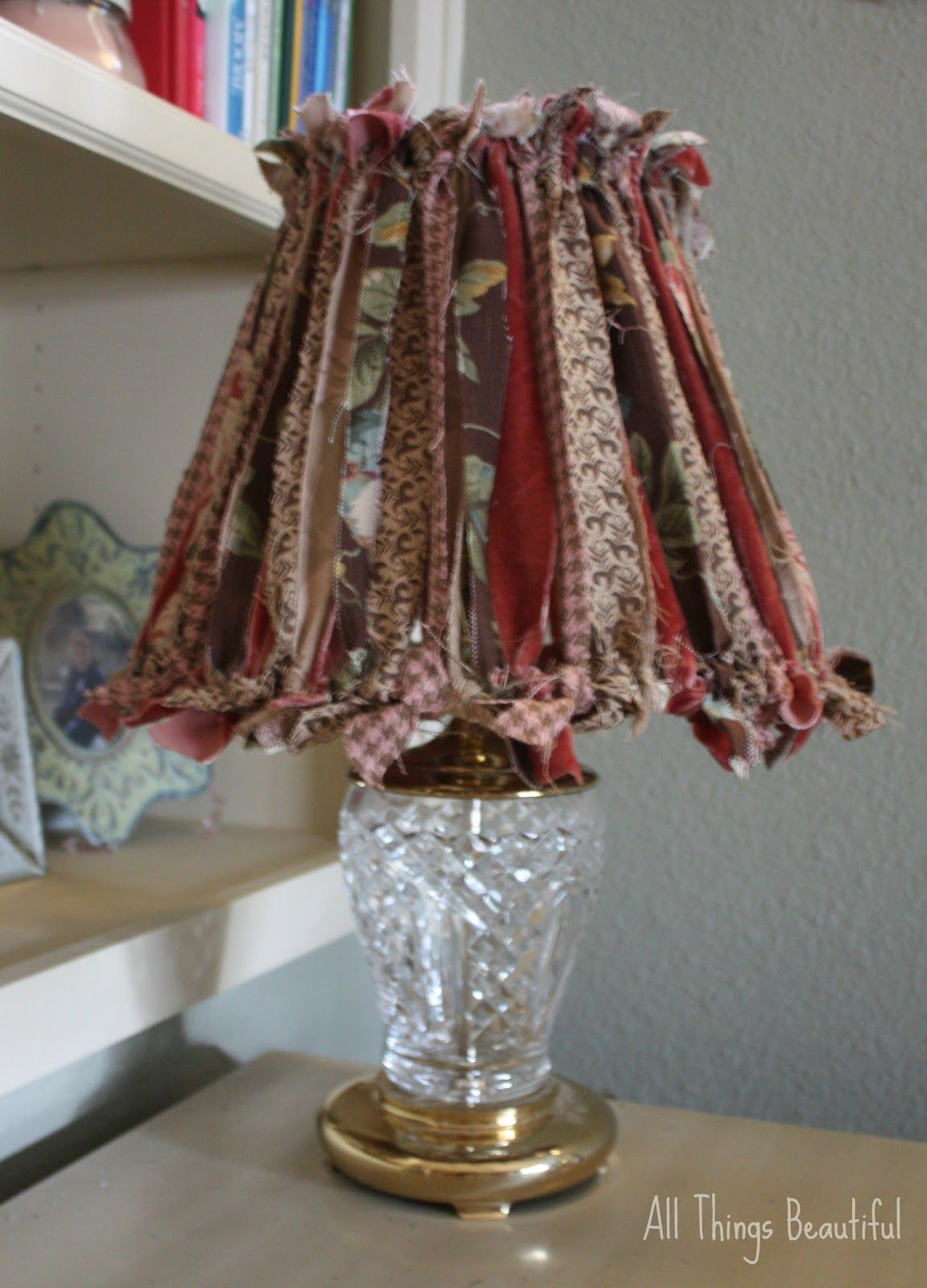Shabby Fabric Strip Lampshade Makeover Diy Lampshade Makeover
