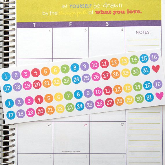 Round date teacher planner stickers two month set by hipdigichick