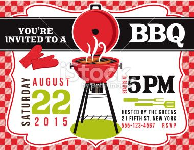 Bbq Invitation Template On Red White Checked Background There Is