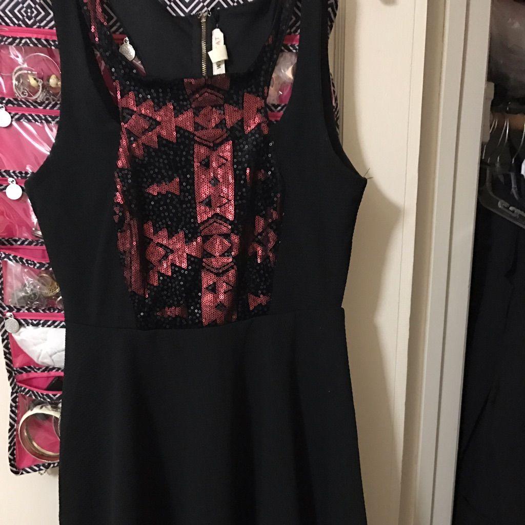 Black Dress W/Wine Sequins Front