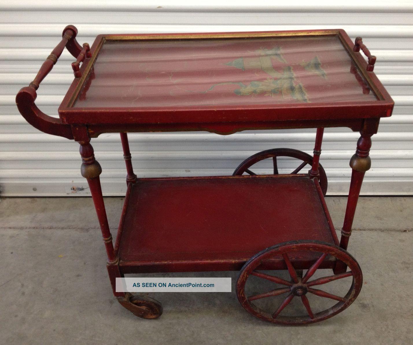 Antique Wood Tea Cart Paalman Wremovable Tray Oriental
