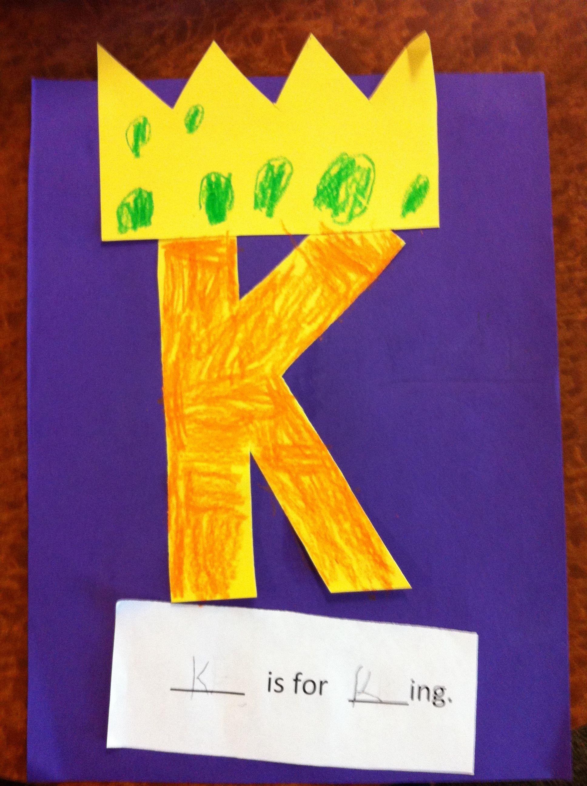 K Is For King Letter K Pre K Craft Letter K Crafts Alphabet