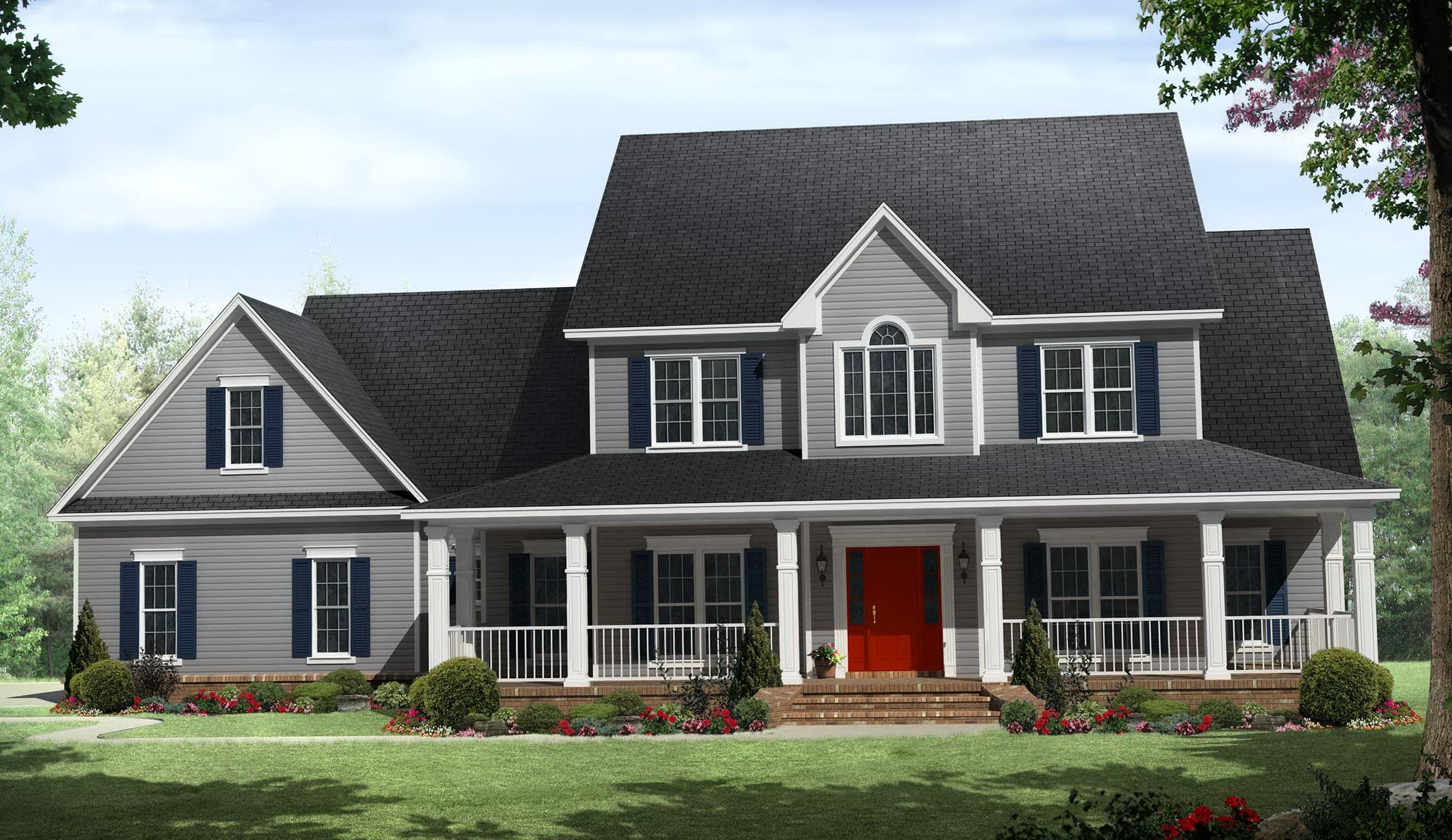 2 story farmhouse with wrap around porch do you assume 2 for Two story porch house plans