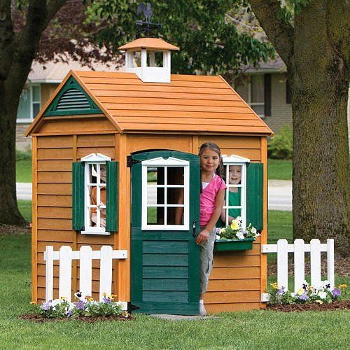 Backyard Wooden Playhouse Cedar Cottage Outdoor Kids Clubhouse Child House Play