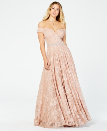 920d18410 Say Yes to the Prom Juniors' Off-The-Shoulder Sequined Lace Gown, Created  for Macy's - Pink 15