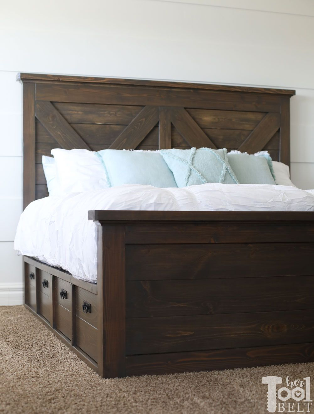 King X Barn Door Farmhouse Bed Plans Her Tool Belt Farmhouse Bed Frame King Bed Frame Bed Frame Plans