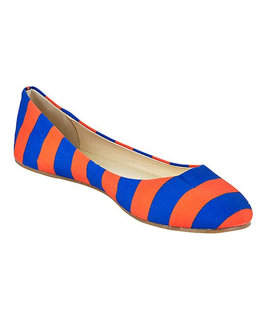 Orange & Royal Blue Stripe Ballet Flat