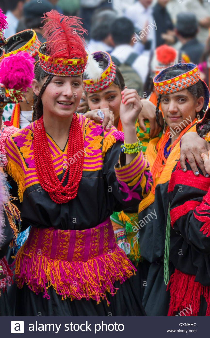 Kalash girls in traditional dress at the Anish Brun Village